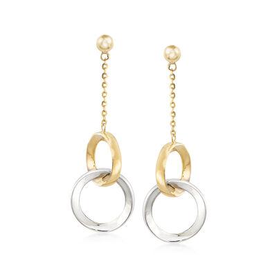 14kt Two-Tone Gold Open-Circle Drop Earrings, , default