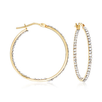 "Italian 14kt Yellow Gold and Swarovski Crystal Inside-Outside Hoop Earrings. 1 1/8"", , default"