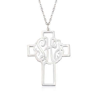 Sterling Silver Monogram Cross Necklace