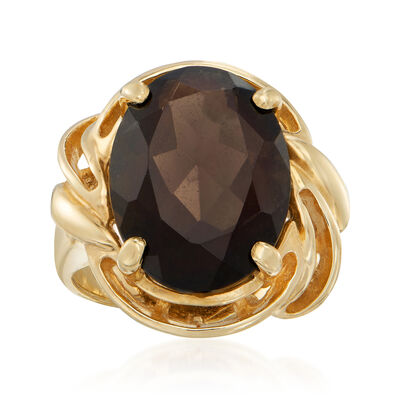C. 1980 Vintage 8.00 Carat Smoky Quartz Ring in 14kt Yellow Gold, , default