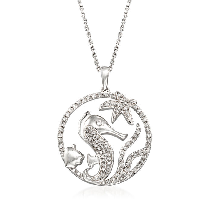 .33 ct. t.w. Pave Diamond Sea Life Pendant Necklace in Sterling Silver