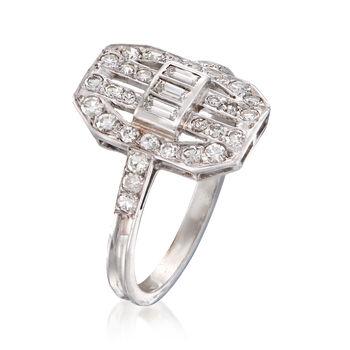 C. 1990 Vintage .80 ct. t.w. Diamond Cocktail Ring in Platinum. Size 7, , default