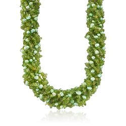 "Green Cultured Pearl and Peridot Torsade Necklace With Sterling Silver. 18"", , default"