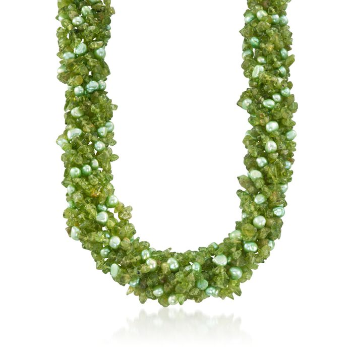 """Green Cultured Pearl and Peridot Torsade Necklace with Sterling Silver. 18"""", , default"""