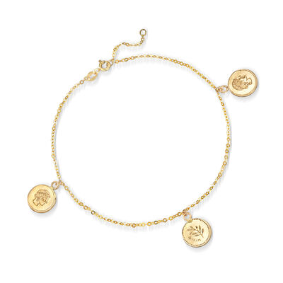Italian 14kt Yellow Gold Apollo Coin Anklet, , default
