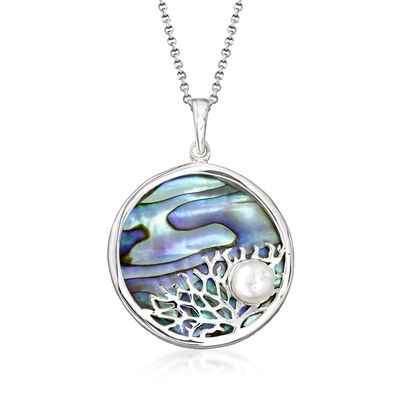 Abalone Shell and 7mm Cultured Pearl Coral Reef Pendant Necklace in Sterling Silver