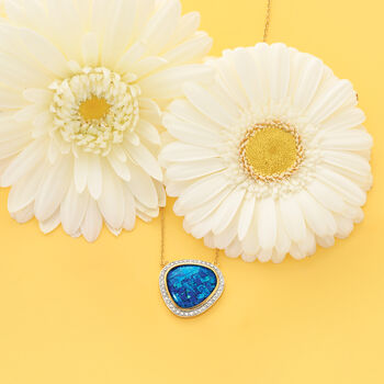 """Blue Synthetic Opal and Zircon Necklace in 18kt Yellow Gold Over Sterling Silver. 16"""", , default"""