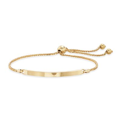 Italian 14kt Yellow Gold Curved Bar Bolo Bracelet , , default