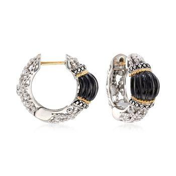 "Andrea Candela ""La Corona"" Black Onyx Hoop Earrings in 18kt Yellow Gold and Sterling Silver. 5/8"", , default"