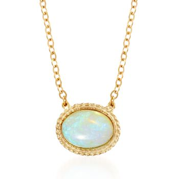 "Oval Opal Roped Frame Necklace in 14kt Yellow Gold. 18"", , default"