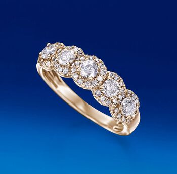 1.00 ct. t.w. Diamond Five-Stone Halo Ring in 14kt Yellow Gold, , default