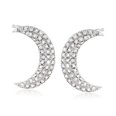 .10 ct. t.w. Diamond Crescent Moon Earrings in Sterling Silver