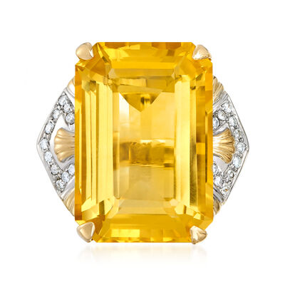 C. 1970 Vintage 31.00 Carat Citrine and .30 ct. t.w. Diamond Ring in 14kt Yellow Gold