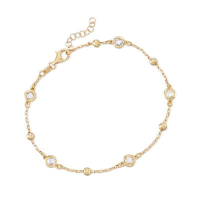 Italian 1.15 ct. t.w. Bezel-Set CZ Station Anklet in 18kt Gold Over Sterling, , default