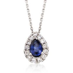 ".80 Carat Sapphire and .40 ct. t.w. Diamond Necklace in 14kt White Gold. 16"", , default"