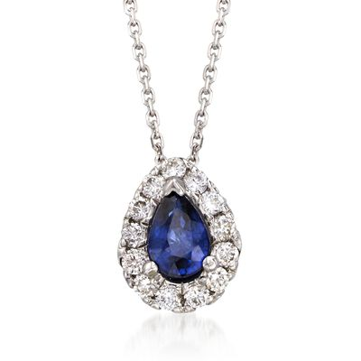.80 Carat Sapphire and .40 ct. t.w. Diamond Necklace in 14kt White Gold, , default