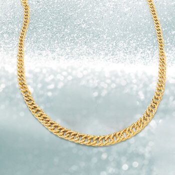 14kt Yellow Gold Textured Graduated Link Necklace