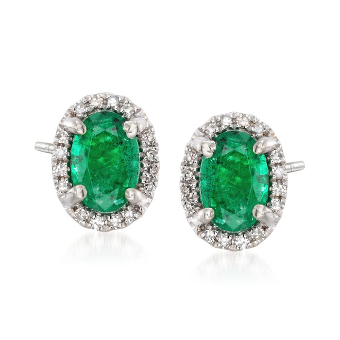 .80 ct. t.w. Emerald Stud Earrings with Diamond Accents in 14kt White Gold