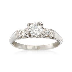 C. 2000 Vintage .60 ct. t.w. Diamond Three-Stone Ring in Platinum. Size 6.25, , default
