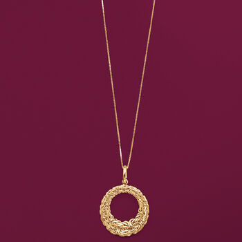 """14kt Yellow Gold Byzantine Open-Space Circle Pendant Necklace. 18"""", , default"""