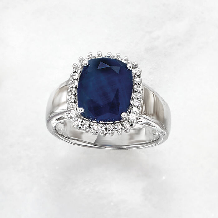 4.50 Carat Sapphire and .20 ct. t.w. White Topaz Ring in Sterling Silver