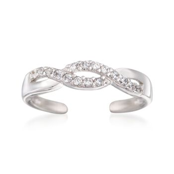 .12 ct. t.w. CZ Twisted Toe Ring in Sterling Silver, , default