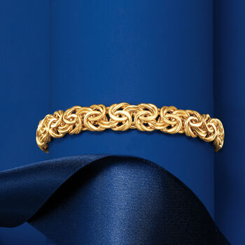 Italian 14kt Yellow Gold Wide Byzantine Bracelet, , default