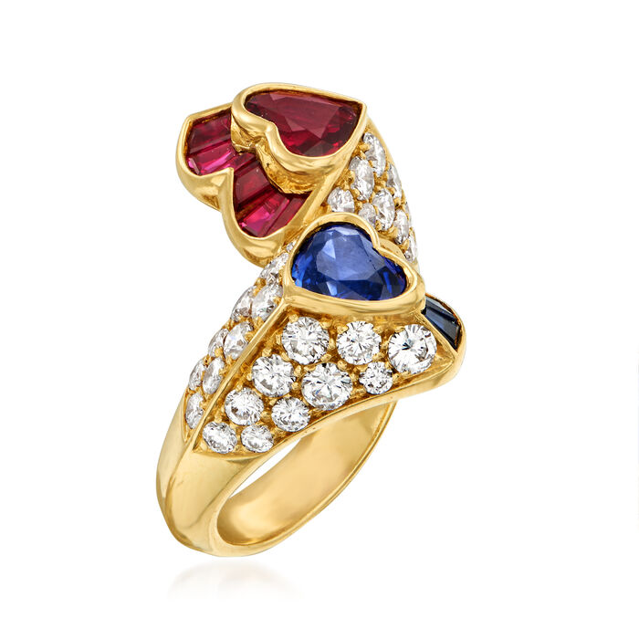C. 1980 Vintage 1.40 ct. t.w. Sapphire, 1.40 ct. t.w. Ruby and 1.50 ct. t.w. Diamond Heart Bypass Ring in 18kt Yellow Gold