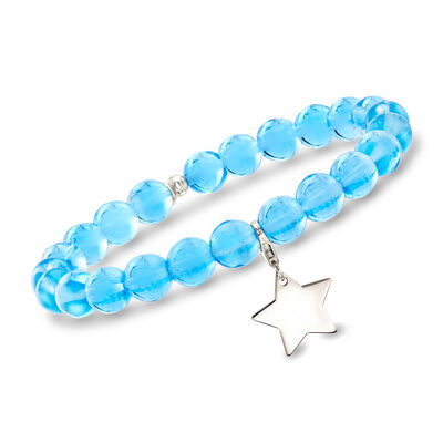 Italian Light Blue Murano Glass Bead Stretch Bracelet with Sterling Silver Star Charm, , default