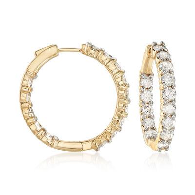 5.00 ct. t.w. Diamond Inside-Outside Hoop Earrings in 14kt Yellow Gold, , default