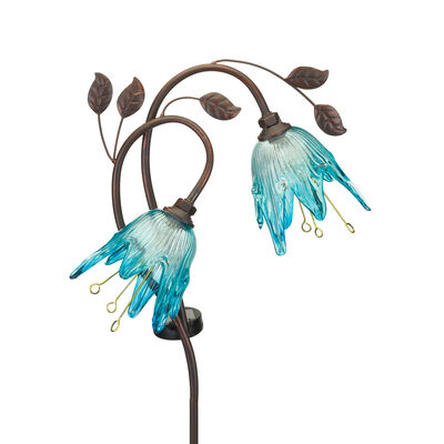 "Regal ""Double Flower"" Set of 2 Blue Solar Garden Stakes"
