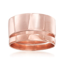 14kt Rose Gold Over Sterling Silver Set: Two Stackable Rings, , default