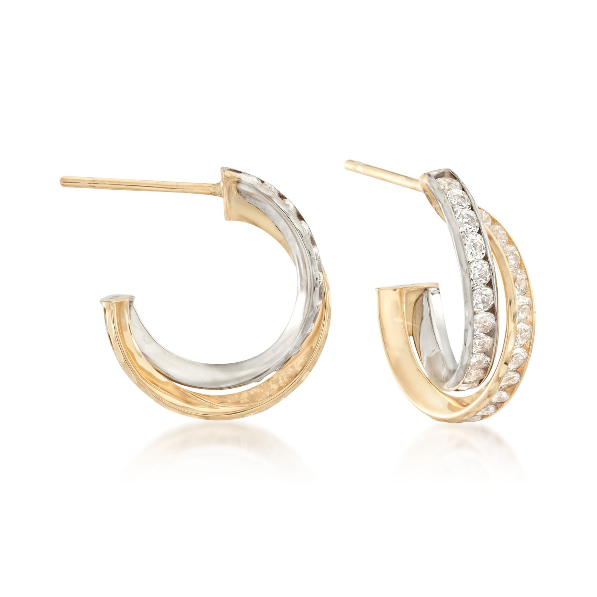 14K Yellow//White Gold Huggie Hoop Earrings Clear 1 Row Cubic Zirconia  2 Sizes.