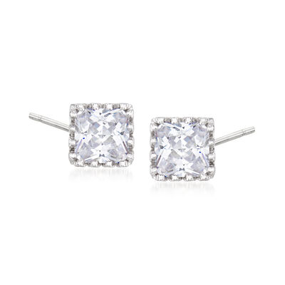 2.50 ct. t.w. CZ Square Stud Earrings in Sterling Silver
