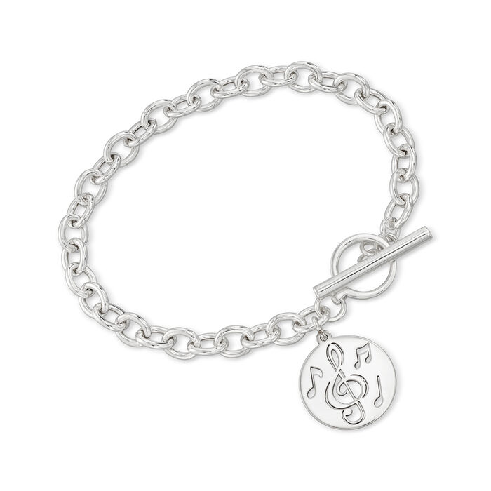 Sterling Silver Openwork Music Charm Toggle Bracelet