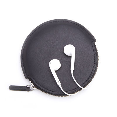 Royce Black Leather Circular Earbud Case, , default