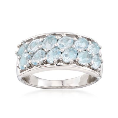 2.20 ct. t.w. Blue Topaz Two-Row Ring in Sterling Silver, , default