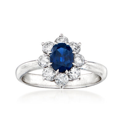 C. 1980 Vintage .99 Carat Sapphire and .65 ct. t.w. Diamond Flower Ring in Platinum