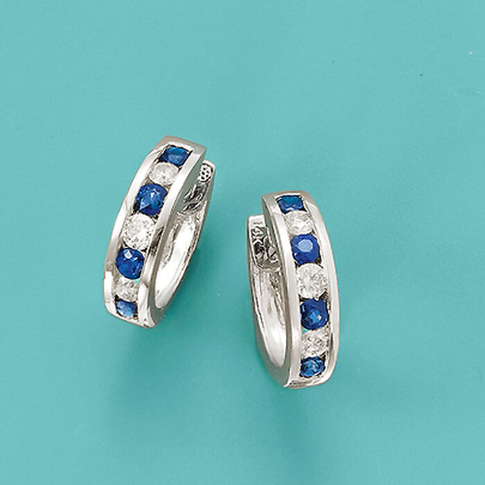 .80 ct. t.w. Sapphire and .40 ct. t.w. Diamond Hoop Earrings in 14kt White Gold