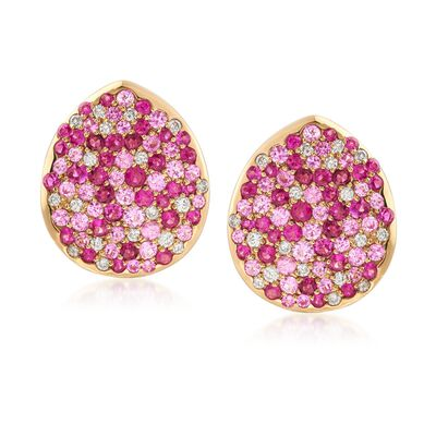 1.50 ct.T .W. Pink Sapphire and 1.60 ct. t.w. Ruby Earrings with Diamonds in 18kt Yellow Gold, , default