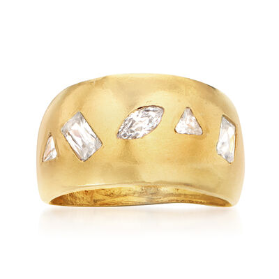 .89 ct. t.w. CZ Dome Ring in 18kt Gold Over Sterling