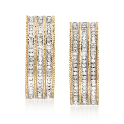 1.00 ct. t.w. Multi-Row Diamond Hoop Earrings in 18kt Gold Over Sterling