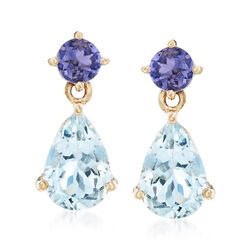 2.50 ct. t.w. Aquamarine and .50 ct. t.w. Tanzanite Drop Earrings in 14kt Yellow Gold, , default