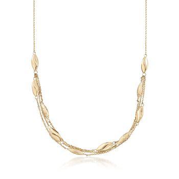 "Italian 14kt Yellow Gold Three-Strand Bead Station Necklace. 20"", , default"