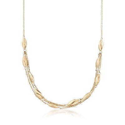 Italian 14kt Yellow Gold Three-Strand Bead Station Necklace, , default