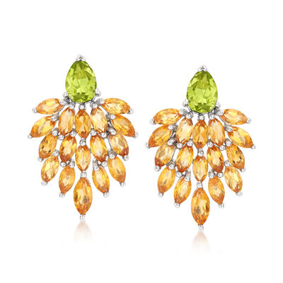 5.00 ct. t.w. Citrine and 1.70 ct. t.w. Peridot Cluster Drop Earrings in Sterling Silver , , default