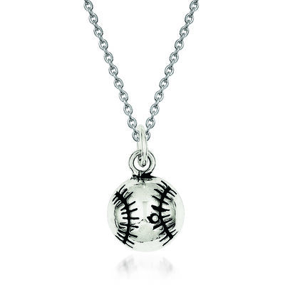 "Sterling Silver Antiqued Baseball Charm Necklace. 18"", , default"
