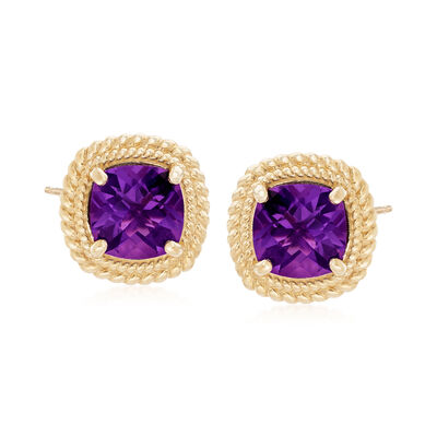 3.60 ct. t.w. Amethyst Earrings in 14kt Yellow Gold, , default