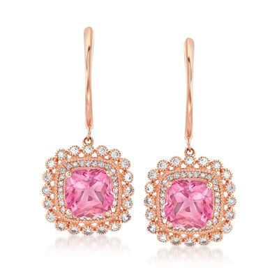 4.50 ct. t.w. Pink Topaz and .50 ct. t.w. White Sapphire Drop Earrings with .14 ct. t.w. Diamonds in 14kt Rose Gold