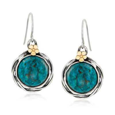 Turquoise Drop Earrings in Sterling Silver with 14kt Yellow Gold
